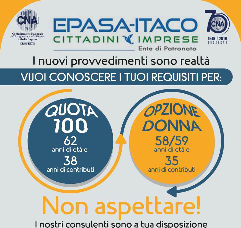 Quota cento e opzione donna: informazioni al patronato Epasa Itaco